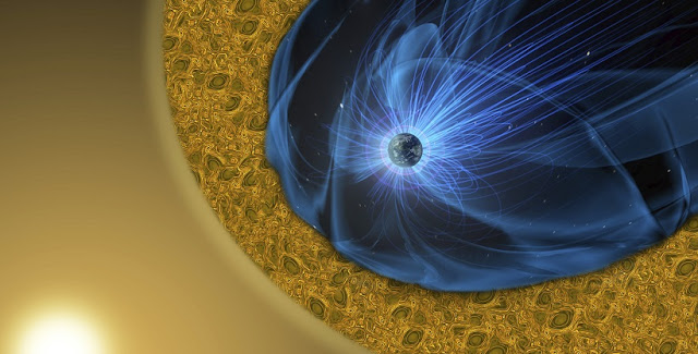 Earth is surrounded by a protective magnetic environment — the magnetosphere — shown here in blue, which deflects a supersonic stream of charged particles from the Sun, known as the solar wind. As the particles flow around Earth's magnetosphere, it forms a highly turbulent boundary layer called the magnetosheath, shown in yellow. Scientists, like those involved with NASA's Magnetospheric Multiscale mission, are studying this turbulent region to help us learn more about our dynamic space environment. Credits: NASA's Goddard Space Flight Center/Mary Pat Hrybyk-Keith; NASA Goddard's Conceptual Image Lab/Josh Masters