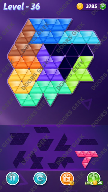 Block! Triangle Puzzle Proficient Level 36 Solution, Cheats, Walkthrough for Android, iPhone, iPad and iPod