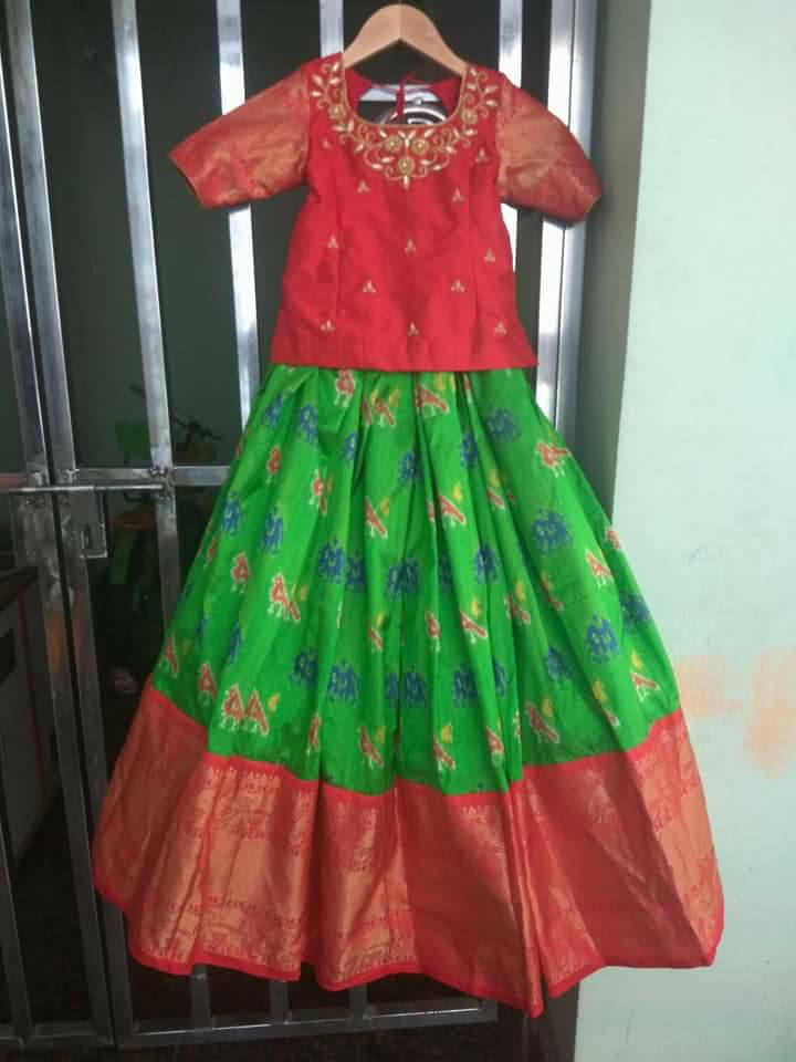 Ikkat Lehengas With Simple Blouses Indian Dresses