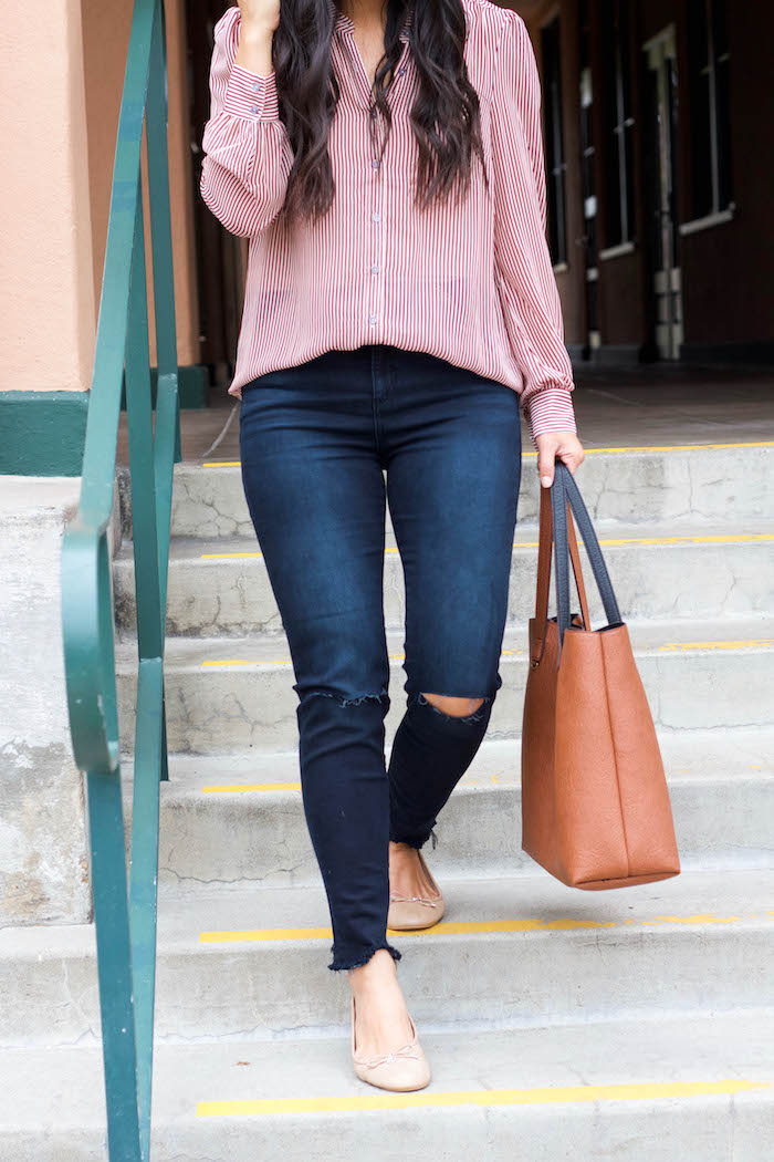 Frayed Jeans + Maroon Blouse + Tote Bag + Nude Flats