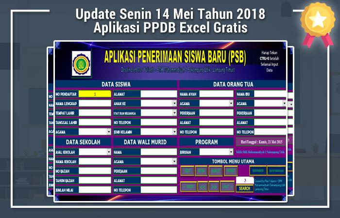 Update Senin 14 Mei Tahun 2018 Aplikasi PPDB Excel Gratis
