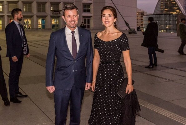 Crown Princess Mary wore a new polka dot dress by Black Halo. Crown Princess Mary wore LK Bennett pumps