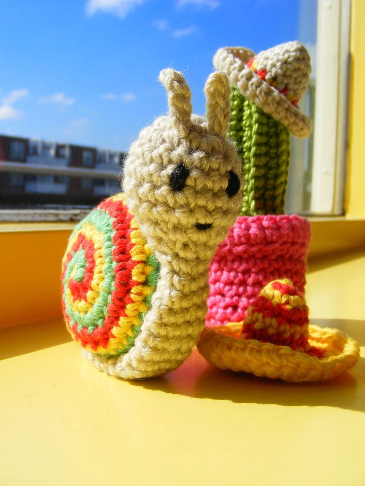 haken amigurumi slak cactus sombrero mexico