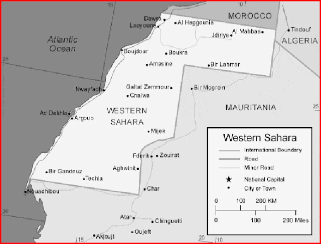 image: Black and white Western Sahara Map