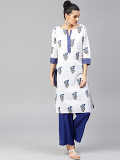 Jaipur Kurti Women White & Blue Printed Kurta with Palazzos