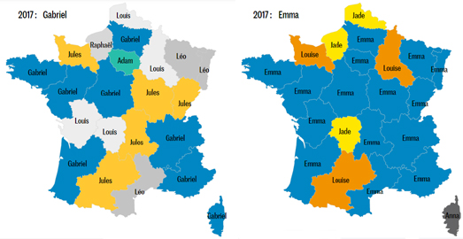 Maps Mania: The Most Popular French Names