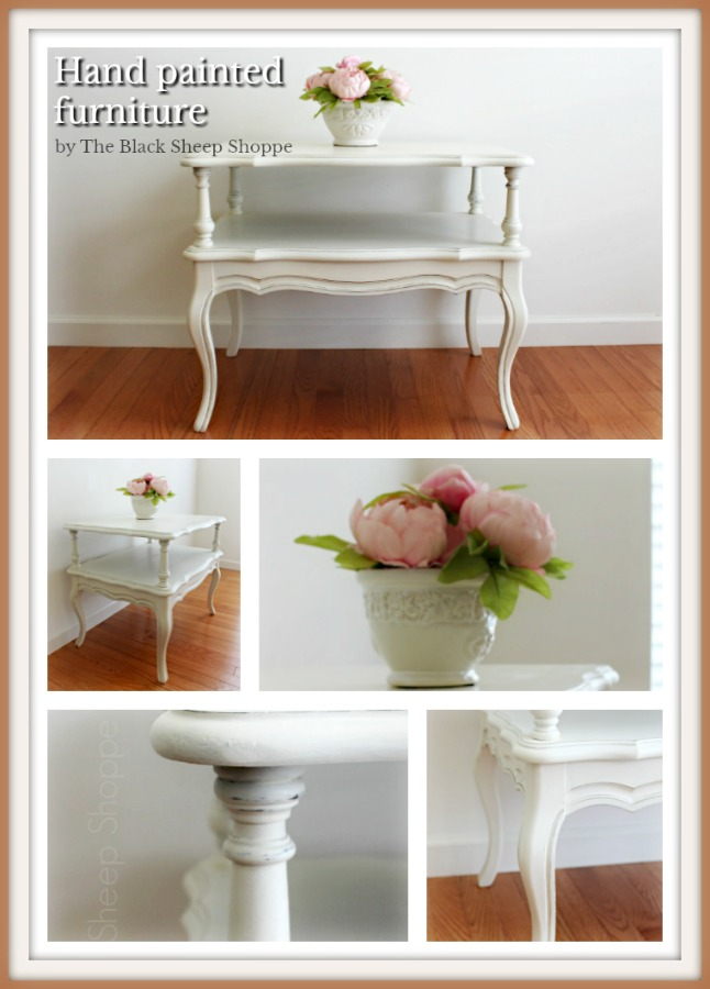 French Provincial style side table painted in Old White by The Black Sheep Shoppe.