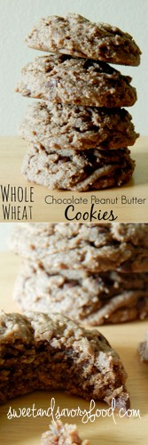 whole wheat chocolate peanut butter cookies (sweetandsavoryfood.com)