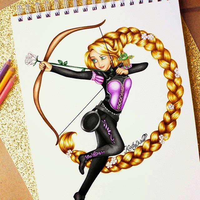 17-Katniss-and-Rapunzel-in-One-Kristina-Webb-Colour-me-Creative-Drawings-www-designstack-co