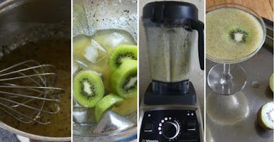 Zubereitung Kiwi-Sirup und Zubereitung Kiwi-Margarita