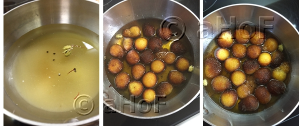The syrup, the jamun just added, the jamun after a few minutes of soaking