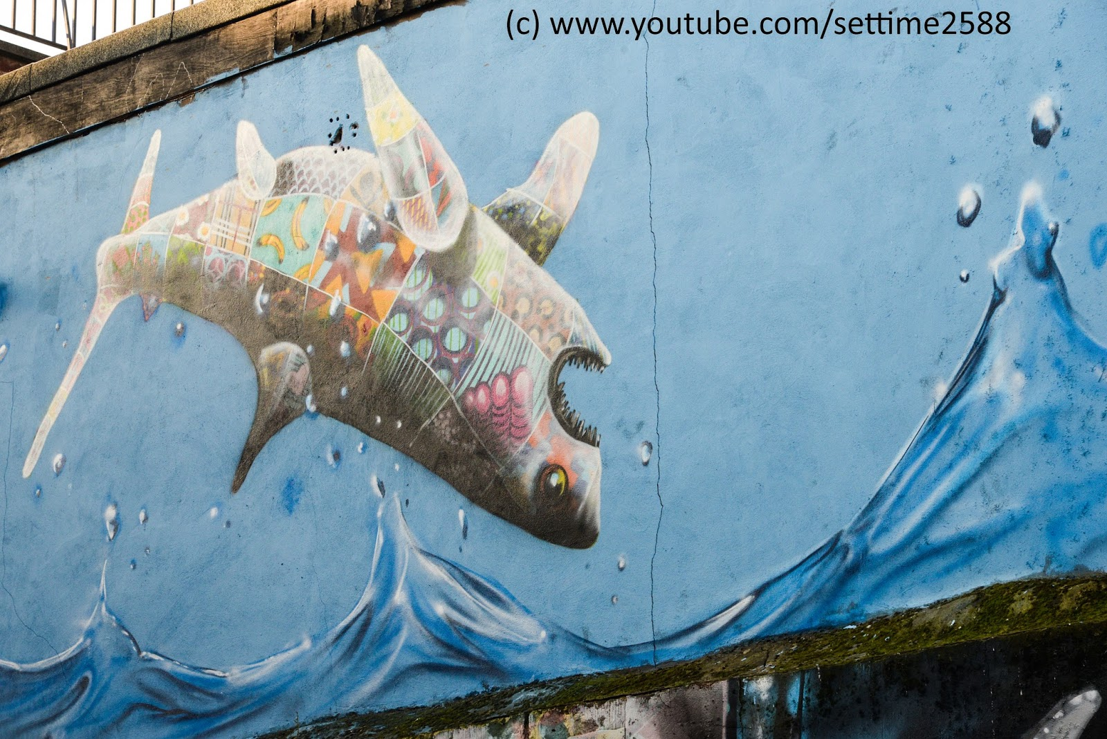 The Shark Dancing On The Wall Of Brick Lane Graffiti Of London