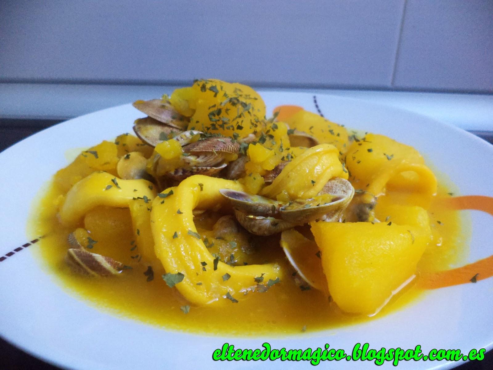 Calamares con patatas y chirlas