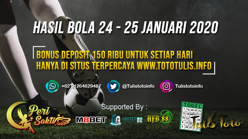 HASIL BOLA TANGGAL 24 – 25 JANUARI 2020