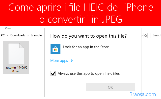 Come aprire i file HEIC dell'iphone o convertirli in JPEG