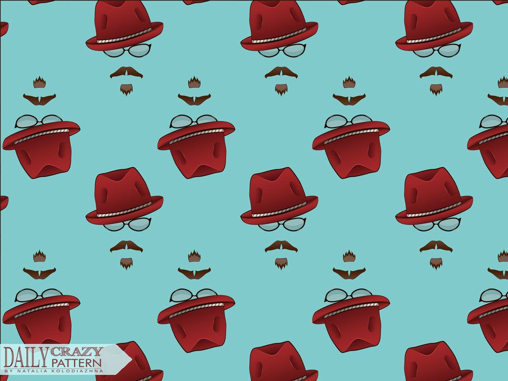 "Funny pattern with fancy hats for ""Daily Crazy Pattern"" project 