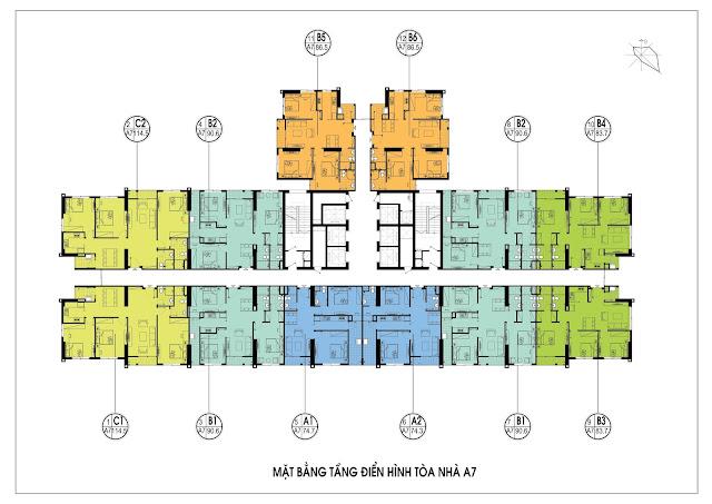 Mặt bằng thiết kế tòa A7 chung cư An Bình City