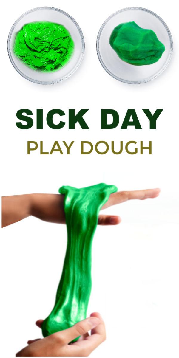 GOT SICK KIDS? Make this amazing play dough! #playdoughrecipe #playdough #playdoughrecipenocook #sickremedies #sickkids #sickday #therapyactivities #theraputicactivitiesforkids #sickkidsremedies #eucalyptus #eucalyptusoil #eucalyptusplaydough