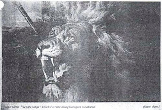 Lukisan Karya Raden Saleh dengan Tema Kepala Singa - Tahun Pembuatan: 1845