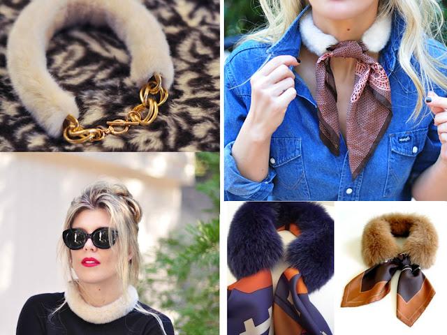 cuellos de piel para invierno, labores, accesorios
