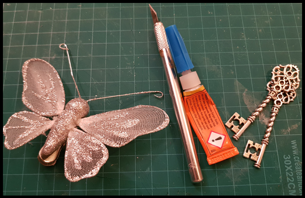 Butterfly tree decorations make great wings for HP inspired winged keys