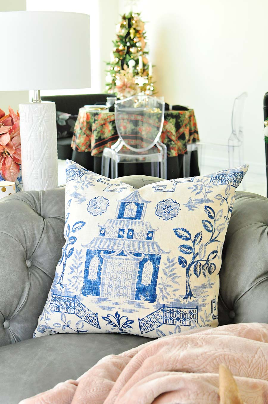 Blue and beige chinoiserie pagoda custom throw pillow cover from Amazon Handmade.