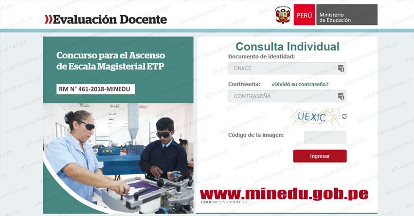 MINEDU: Resultados Preliminares Ascenso Profesores Educación Técnico Productiva - ETP - Primera Fase (12 Octubre 2018) www.minedu.gob.pe