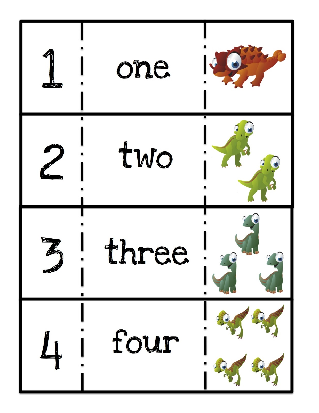 Ten Terrible Dinosaurs Printable Preschool Printables