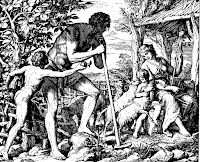 Adam and Eve and their children Cain and Abel . Gen. 4: 1-2.