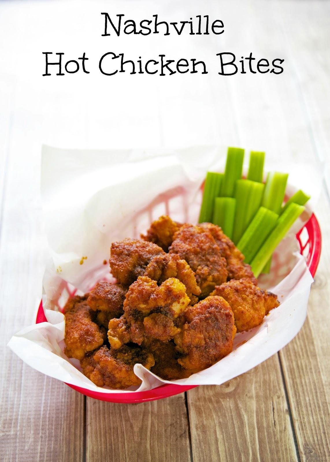 Nashville Hot Chicken Bites - quick dinner or appetizer - toss frozen chicken in a mixture of cayenne, garlic powder, onion powder, paprika, sugar and butter - recipe adapted from Hattie B's in Nashville!