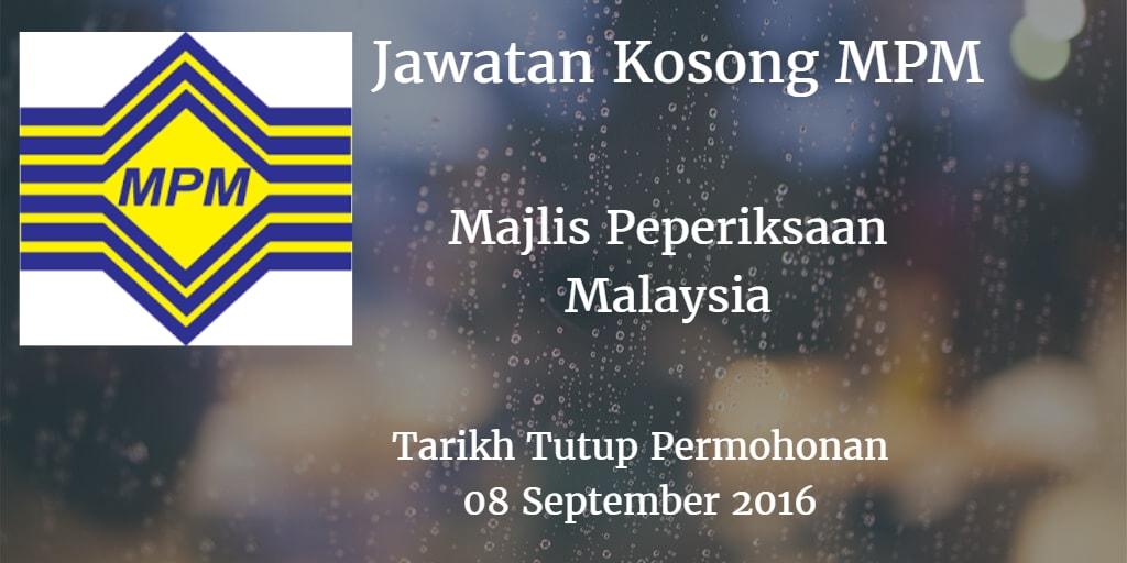 Jawatan Kosong MPM 08 September 2016