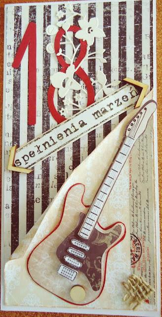 kartka na 18-stkę dla chłopaka, kartka z gitarą