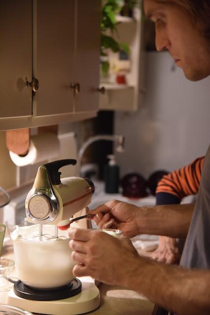 Making the meringue for Baked Alaska