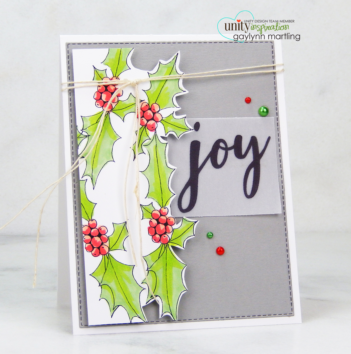 Neat Nook Creations: Holly Leaves Joy Christmas Card
