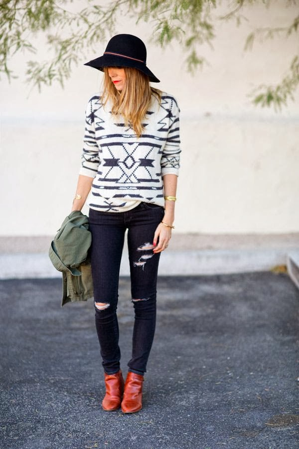 Women's Fashion tribal sweater + black distressed denim + cognac boots