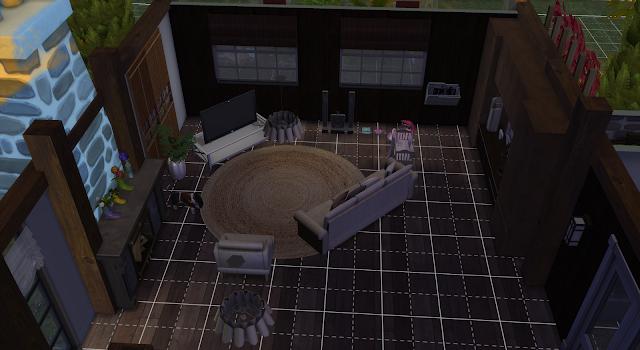 salón de una casa en los sims 4