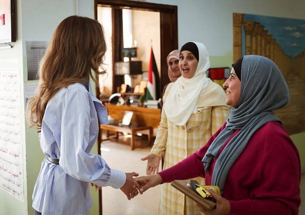 Queen Rania of Jordan visited the Northern Rabahiya Coeducational Secondary School in Amman