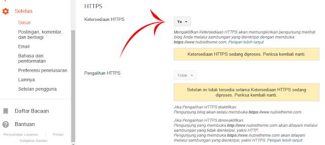 Ketersediaan HTTPS blog