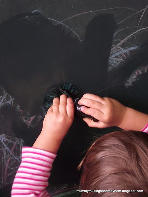 fine Motor Chalkboard painting