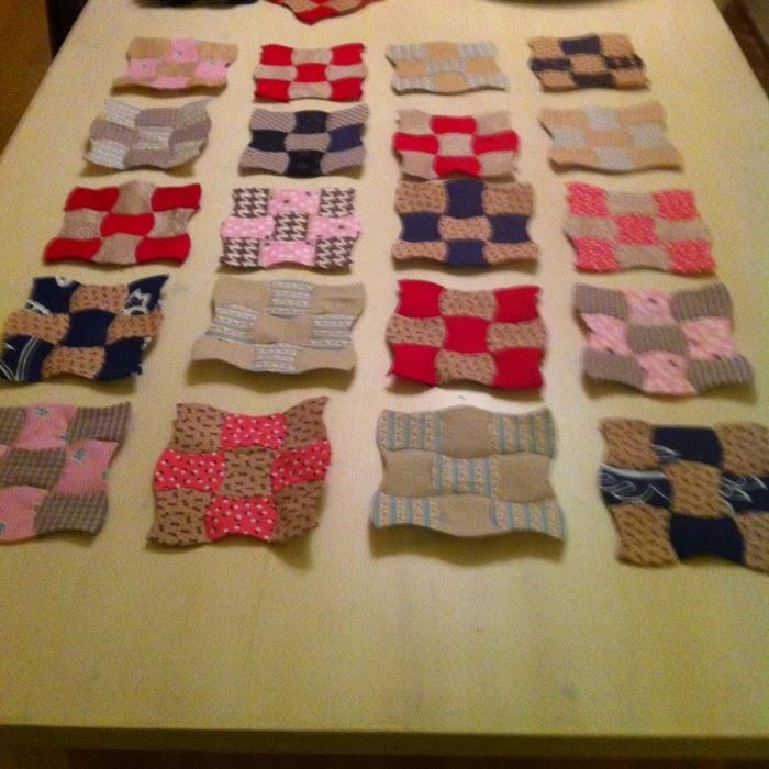 Ontwerp handgenaaide klokhuisjes quilt met tussenbanen
