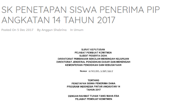 SK Penetepan Siswa Penerima PIP Angkatan 14 Tahun 2017