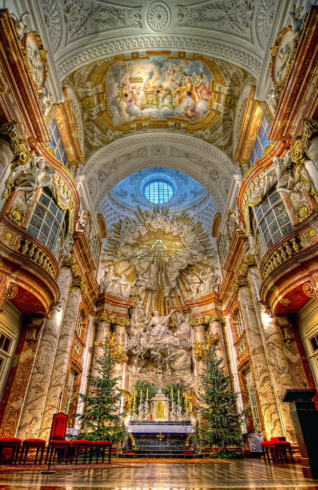 St. Charles's Church (German: Karlskirche) is a baroque church located on the south side of Karlsplatz in Vienna, Austria. Widely considered the most outstanding baroque church in Vienna, as well as one of the city's greatest buildings, St. Charles's Church is dedicated to Saint Charles Borromeo, one of the great reformers of the sixteenth century. Located on the edge of the Innere Stadt, approximately 200 meters outside the