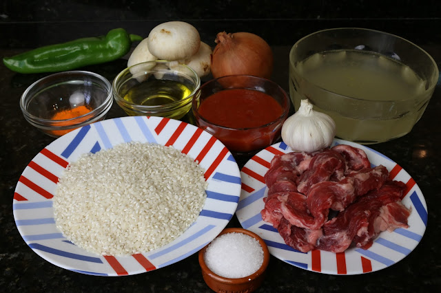 Ingredientes para arroz con lagartito ibérico