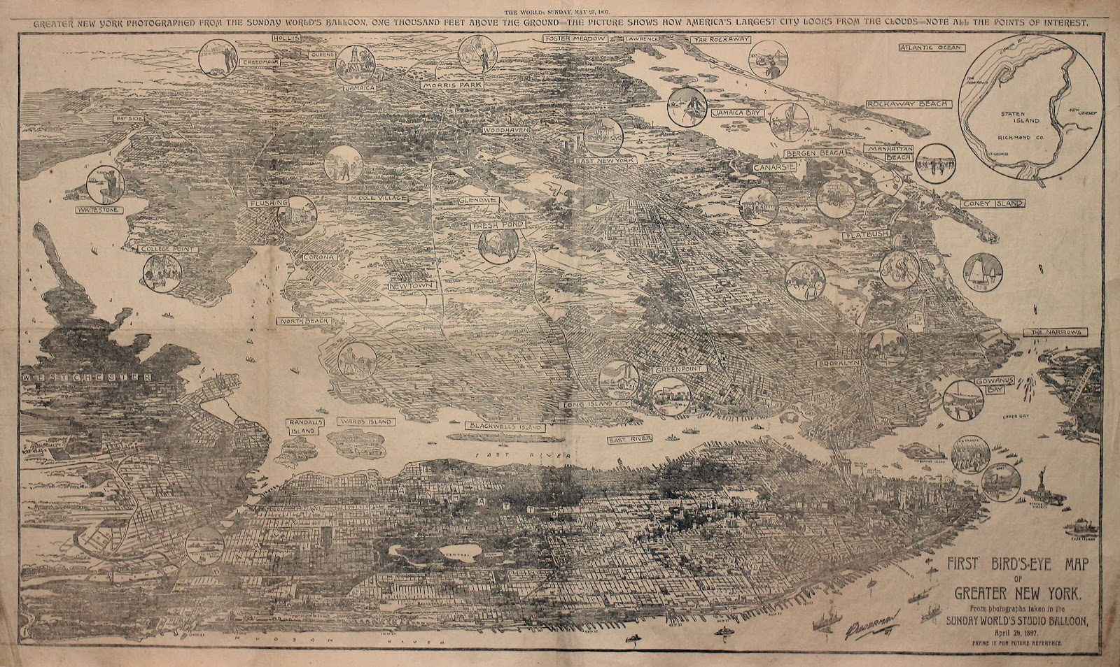 Bird's-Eye Map of Greater New York (1897)
