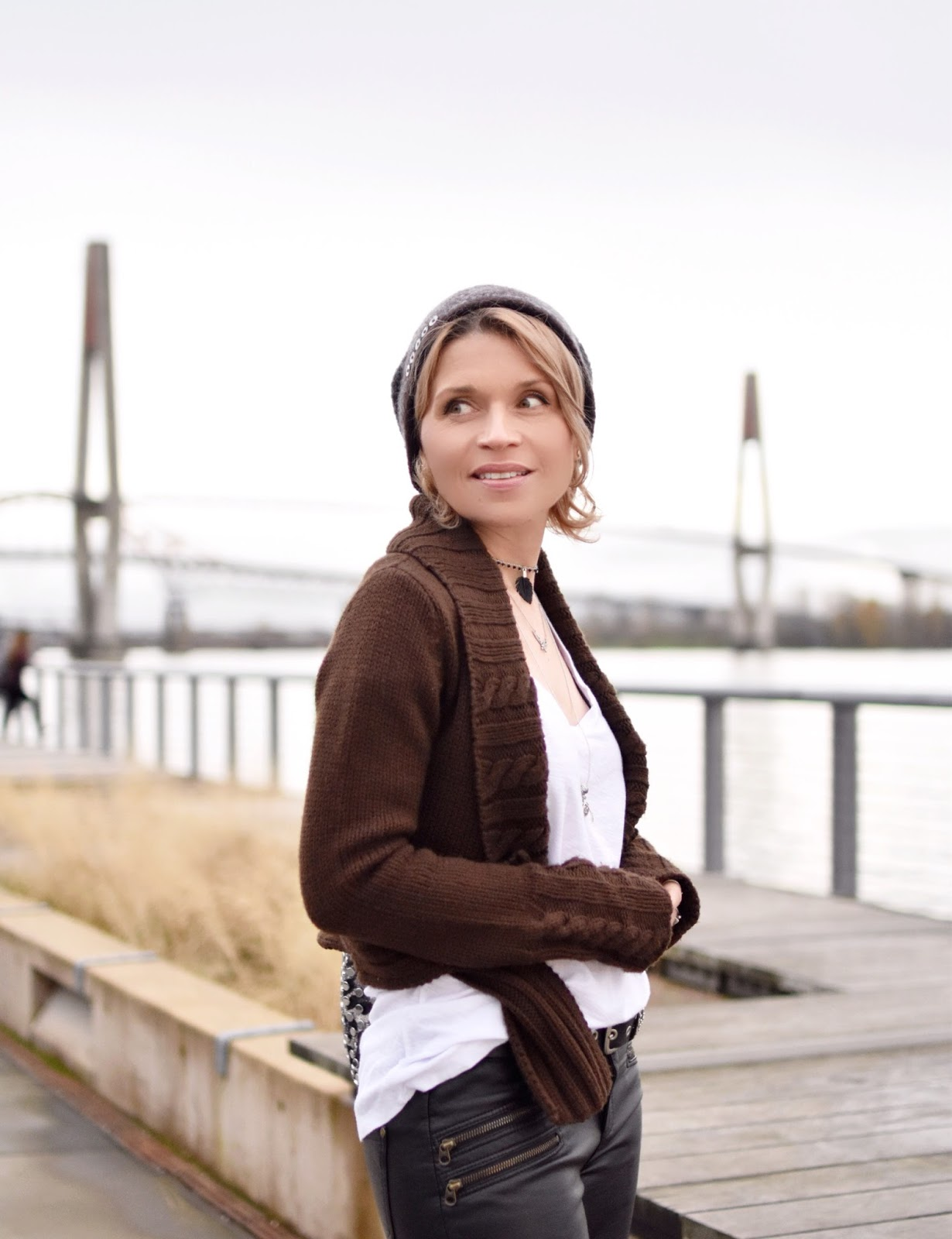 "Monika Faulkner outfit inspiration - styling a slouchy white tee, cropped ""moto"" cardigan, and mohair beanie"