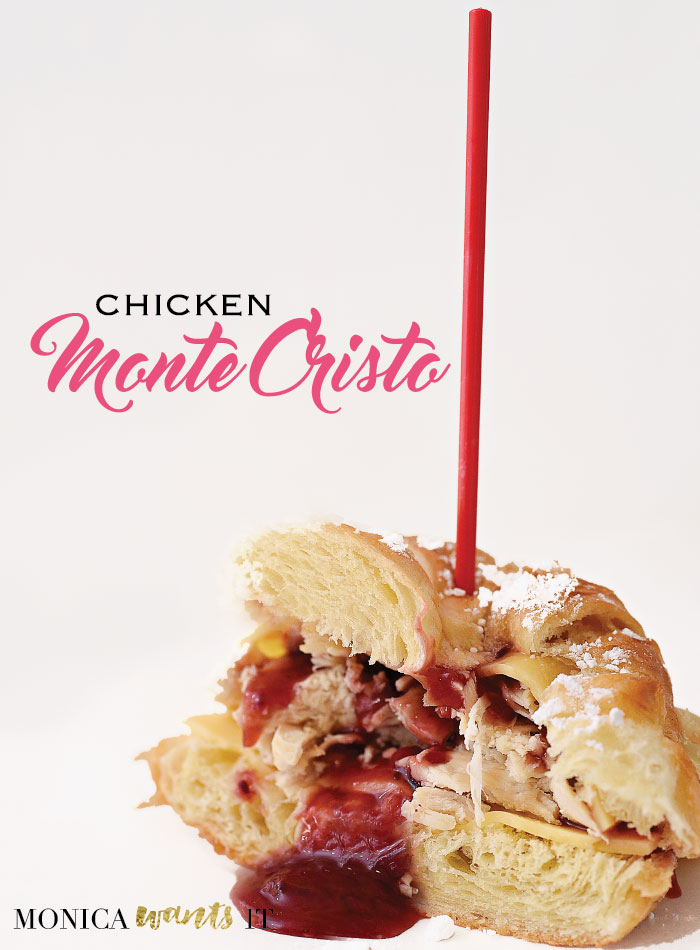 Chicken Monte Cristo sandwich recipe- this looks tasty and easy to make for lunch or girls night in.