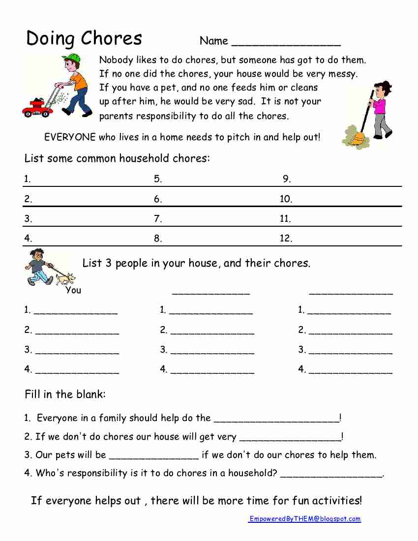 Workbooks special education life skills worksheets : Empowered By THEM: Chores