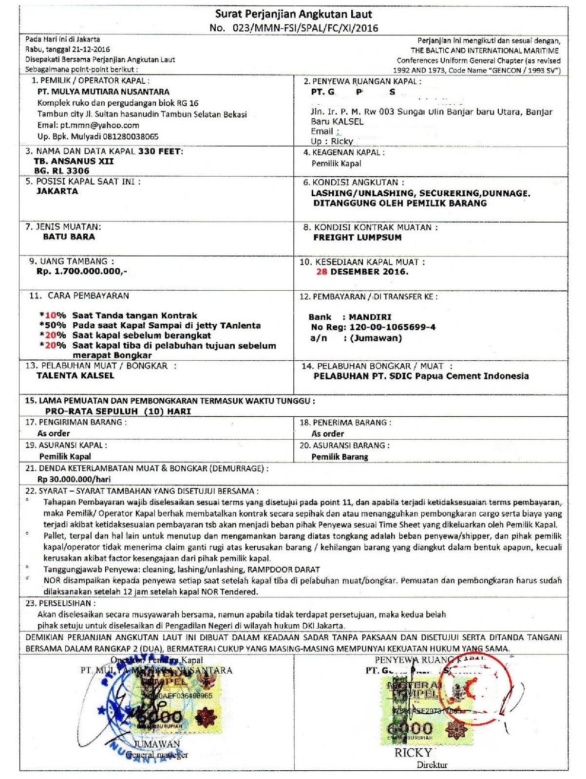 Pt Mulya Mutiara Nusantara Yang Memberikan Komitmen Fee