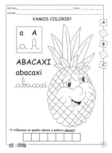 Alfabeto Ilustrado A A Z Para Cobrir Escrever Colorir Portal
