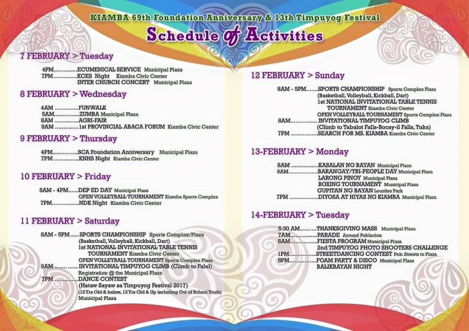 timpuyog festival 2017 schedule of activities kiamba sarangani
